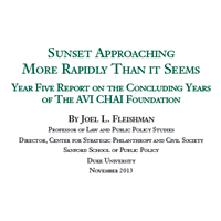 2013: Fifth Annual Report to The AVI CHAI Foundation on the Progress of its Decision to Spend Down